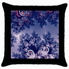 Pink And Blue Morning Frost Fractal Black Throw Pillow Case by Artist4God