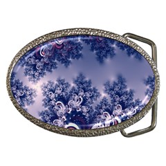 Pink And Blue Morning Frost Fractal Belt Buckle (oval) by Artist4God