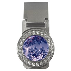 Pink And Blue Morning Frost Fractal Money Clip (cz) by Artist4God