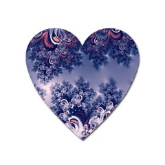 Pink And Blue Morning Frost Fractal Magnet (heart) by Artist4God