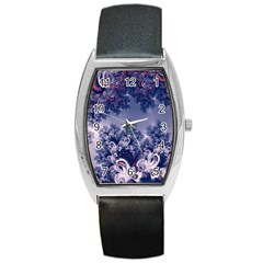 Pink And Blue Morning Frost Fractal Tonneau Leather Watch by Artist4God