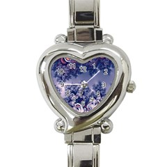 Pink And Blue Morning Frost Fractal Heart Italian Charm Watch  by Artist4God