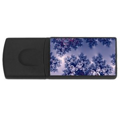 Pink And Blue Morning Frost Fractal 4gb Usb Flash Drive (rectangle) by Artist4God