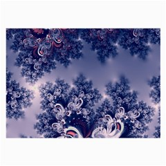 Pink And Blue Morning Frost Fractal Glasses Cloth (large, Two Sided)