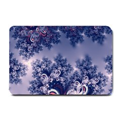 Pink And Blue Morning Frost Fractal Small Door Mat by Artist4God