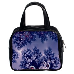 Pink And Blue Morning Frost Fractal Classic Handbag (two Sides) by Artist4God