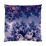 Pink and Blue Morning Frost Fractal Cushion Case (Two Sided)  Back