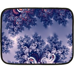 Pink And Blue Morning Frost Fractal Mini Fleece Blanket (two Sided)