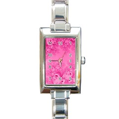 Soft Pink Frost Of Morning Fractal Rectangular Italian Charm Watch by Artist4God