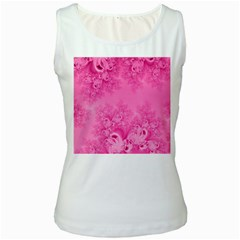 Soft Pink Frost Of Morning Fractal Women s Tank Top (white)