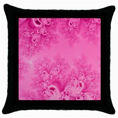 Soft Pink Frost Of Morning Fractal Black Throw Pillow Case by Artist4God