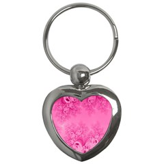 Soft Pink Frost Of Morning Fractal Key Chain (heart) by Artist4God