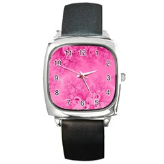 Soft Pink Frost Of Morning Fractal Square Leather Watch by Artist4God
