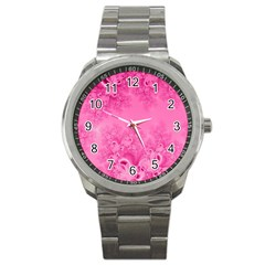 Soft Pink Frost Of Morning Fractal Sport Metal Watch