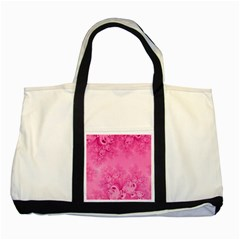Soft Pink Frost Of Morning Fractal Two Toned Tote Bag