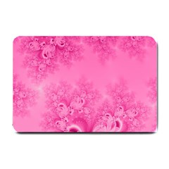 Soft Pink Frost Of Morning Fractal Small Door Mat by Artist4God