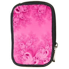 Soft Pink Frost Of Morning Fractal Compact Camera Leather Case by Artist4God