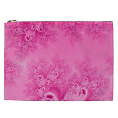Soft Pink Frost Of Morning Fractal Cosmetic Bag (xxl) by Artist4God