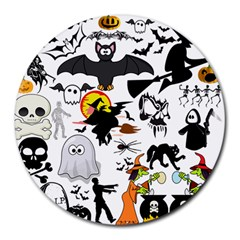 Halloween Mashup 8  Mouse Pad (round) by StuffOrSomething