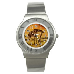 Giraffe Mother & Baby Stainless Steel Watch (slim) by ArtByThree