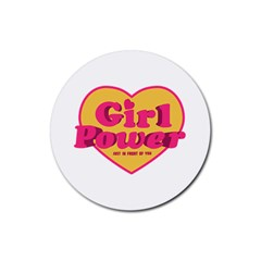 Girl Power Heart Shaped Typographic Design Quote Drink Coaster (round) by dflcprints