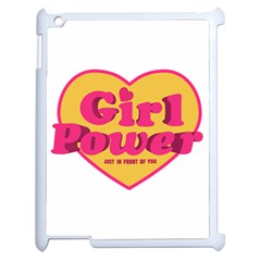 Girl Power Heart Shaped Typographic Design Quote Apple Ipad 2 Case (white) by dflcprints