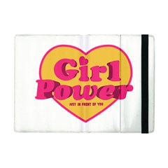 Girl Power Heart Shaped Typographic Design Quote Apple Ipad Mini Flip Case by dflcprints