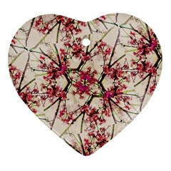 Red Deco Geometric Nature Collage Floral Motif Heart Ornament (two Sides)