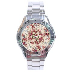 Red Deco Geometric Nature Collage Floral Motif Stainless Steel Watch by dflcprints
