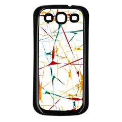 Colorful Splatter Abstract Shapes Samsung Galaxy S3 Back Case (black) by dflcprints
