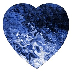 Blue Waves Abstract Art Jigsaw Puzzle (heart) by LokisStuffnMore