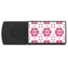 Sweety Pink Floral Pattern 4gb Usb Flash Drive (rectangle)