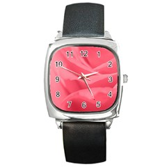 Pink Silk Effect  Square Leather Watch by Colorfulart23
