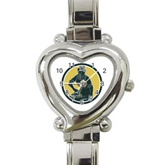 African American Woman Ironing Clothes Woodcut Heart Italian Charm Watch  by retrovectors