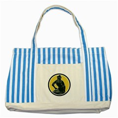 African American Woman Ironing Clothes Woodcut Blue Striped Tote Bag by retrovectors