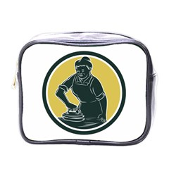African American Woman Ironing Clothes Woodcut Mini Travel Toiletry Bag (one Side) by retrovectors