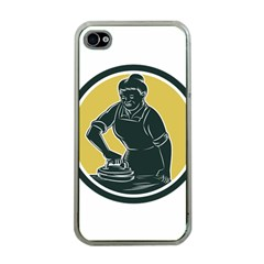 African American Woman Ironing Clothes Woodcut Apple Iphone 4 Case (clear) by retrovectors