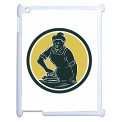 African American Woman Ironing Clothes Woodcut Apple Ipad 2 Case (white) by retrovectors