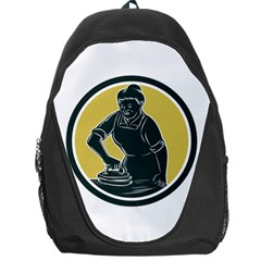 African American Woman Ironing Clothes Woodcut Backpack Bag by retrovectors