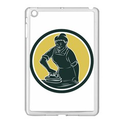 African American Woman Ironing Clothes Woodcut Apple Ipad Mini Case (white) by retrovectors