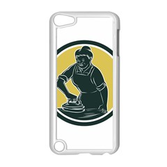 African American Woman Ironing Clothes Woodcut Apple Ipod Touch 5 Case (white) by retrovectors
