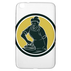 African American Woman Ironing Clothes Woodcut Samsung Galaxy Tab 3 (8 ) T3100 Hardshell Case  by retrovectors