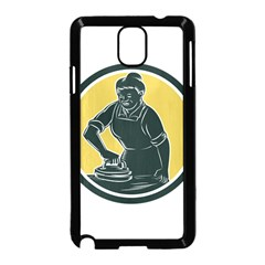 African American Woman Ironing Clothes Woodcut Samsung Galaxy Note 3 Neo Hardshell Case (black) by retrovectors