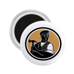 Carpenter Holding Hammer Woodcut 2 25  Button Magnet by retrovectors
