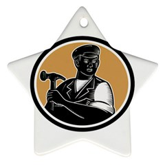 Carpenter Holding Hammer Woodcut Star Ornament (two Sides) by retrovectors