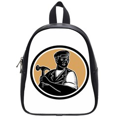 Carpenter Holding Hammer Woodcut School Bag (small) by retrovectors