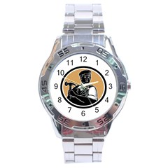 Carpenter Holding Hammer Woodcut Stainless Steel Watch by retrovectors