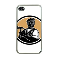 Carpenter Holding Hammer Woodcut Apple Iphone 4 Case (clear) by retrovectors