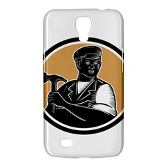 Carpenter Holding Hammer Woodcut Samsung Galaxy Mega 6 3  I9200 Hardshell Case by retrovectors