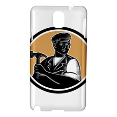 Carpenter Holding Hammer Woodcut Samsung Galaxy Note 3 N9005 Hardshell Case by retrovectors